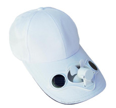 Fan hat, White , solar powered, great for games and gardening