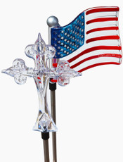 God Bless America! Solar Cross and Flag Stake Lights