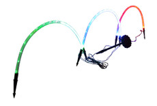 Rainbow Green, Red and Blue Tube String Lights , Solar Powered Lawn Ornament, 3 Arches