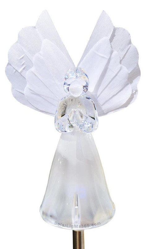 Solar Wholesale 1033 Solar Angel Garden Stake Light w / Color Change LED  and Fiber Optic Wing