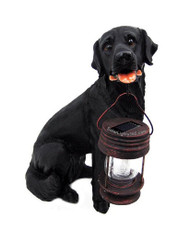 Black Labrador Dog With Solar Powered LED Lantern