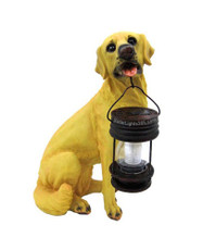 Yellow Labrador Dog with Solar Powered Lantern