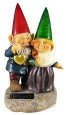Solar Powered Gnomes Valentine Couple Garden Statue Light