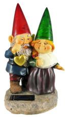 Solar Powered Gnomes Valentine Couple Garden Statue Light