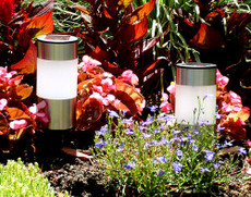 "A pack of four Solar Stainless Steel Bollard Lights, 5.5""tall"