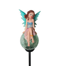 "Solar Tinkerbell Crackle Glass Ball Light, Blue, 36"" Tall"