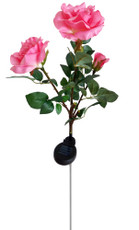 "35"" Realistic-looking Romantic Rose Bouquet Solar Lights, Pink with 3 White LEDs"