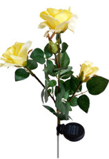 "35"" Realistic-looking Romantic Rose Bouquet Solar Lights, Yellow with 3 White LEDs"