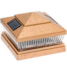 "6x6"" Square Fence Post Cap Mount, Solar White LED Light, 1 Pack of Copper Color"
