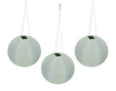 "A Pack of Three 12"" Diameter Fabric Shoji Solar Lanterns"