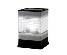 """Metal Plated Square Fence Post Solar LED Light, 3.75 x 3.75"""""""
