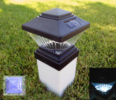 "4x4"" Black Color Fence Post Cap Mount Solar LED Light  for PVC Fence Style"