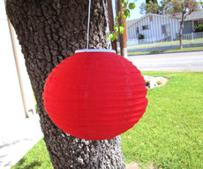 "12"" Diameter Fabric Chinese Solar Red Lantern LED Light"