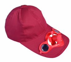 Fan Hat, Claret-Red, Solar Powered, Great for Games