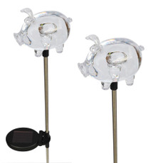 Solar Wholesale 1049-2 A Pack of Two Cute Piggy Lights, Heavy and Chunky Shape