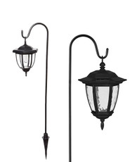 Vintage Coach Solar Lanterns with Shepherd Hook and Soil Stakes, 2 Pack