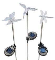 Set of Hummingbird, Butterfly & Dragonfly Solar Lights, Color LEDs, Silver Stakes