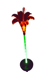 Lily Flower Solar Light with Green-lit Stem, 2 LED lights, solar powered