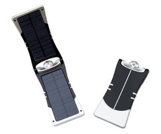 Solar Phone Charger, Black and Aluminum Finish, Solar Powered