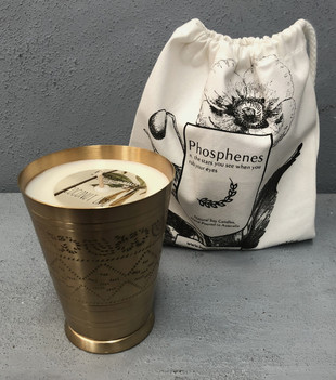 HANDPOURED SOY CANDLE IN HANDMADE BRASS LASSI CUP - COCONUT LIME