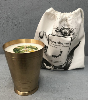 HANDPOURED SOY CANDLE IN HANDMADE BRASS LASSI CUP - CUCUMBER MINT GINGER