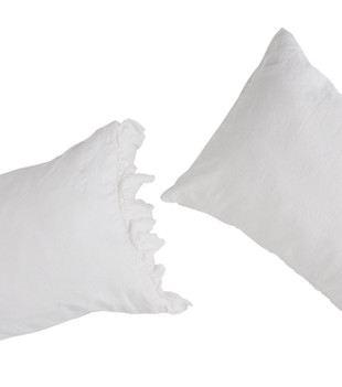 PILLOWCASE SET WITH RUFFLE - WHITE