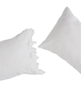 PILLOWCASE SET WITH RUFFLE - WHITE