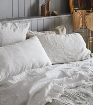 LINEN RUFFLE FLAT SHEET - WHITE
