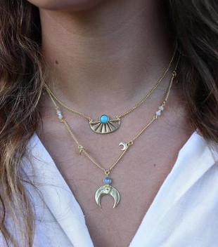 ADRIFT TURQUOISE NECKLACE - GOLD PLATED