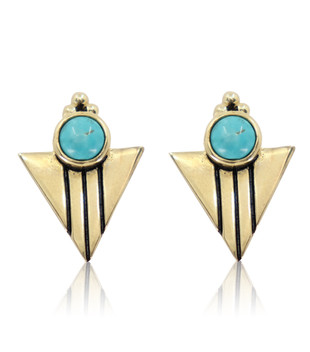 AQUILA TURQUOISE EARRINGS - GOLD PLATED