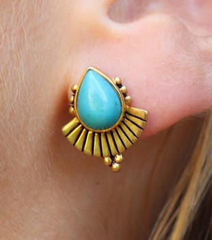 CLEOPATRA TURQUOISE EARRINGS - GOLD PLATED