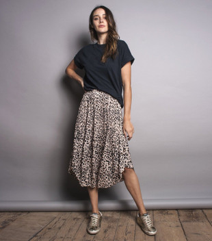 THE PLEATED SKIRT - LEOPARD