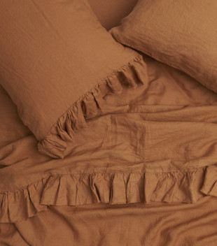 QUEEN RUFFLE FLAT SHEET - TOBACCO
