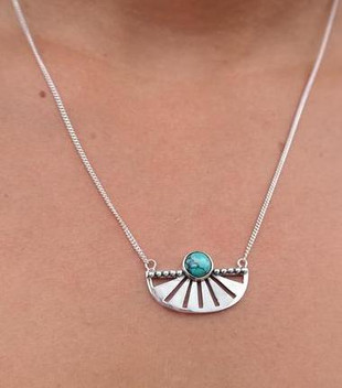 SILVER ADRIFT NECKLACE - TURQUOISE