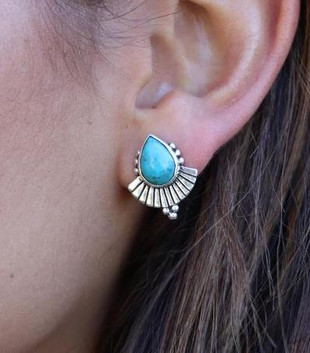 CLEOPATRA TURQUOISE EARRINGS - SILVER