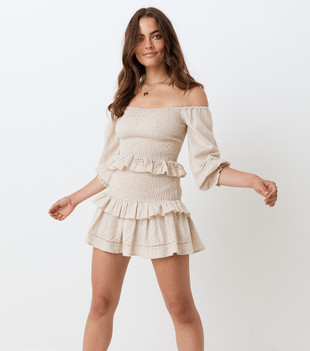 LOLA RUCHED MINI SKIRT - BISCUIT