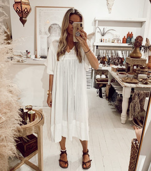 ZINGARO CREPE DRESS - WHITE