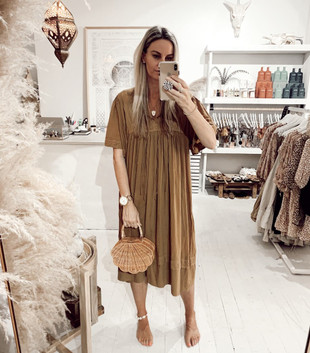 ZINGARO CREPE DRESS - GOLDEN BROWN