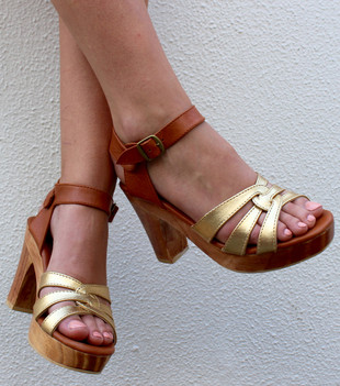 SAGE WOODEN HIGH HEEL - GOLD/TAN LEATHER
