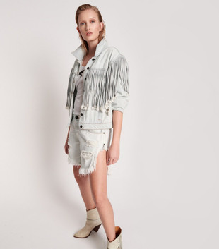 FLORENCE FRINGED DENIM TRUCKER JACKET