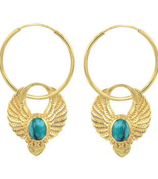 SACRED WINGS EARRINGS - GOLD TURQUOISE