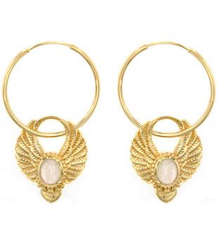 SACRED WINGS EARRINGS - GOLD MOONSTONE