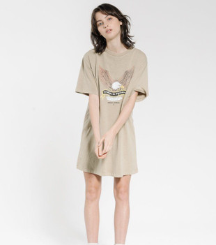 TROUBLED PARADISE MERCH FIT TEE DRESS - WASHED TAN