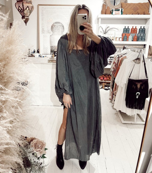 GOSSAMER MAXI DRESS - FADED BLACK