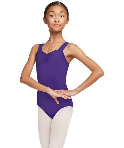 Capezio Wide Strap Bodysuit - Front - Shown in Deep Purple