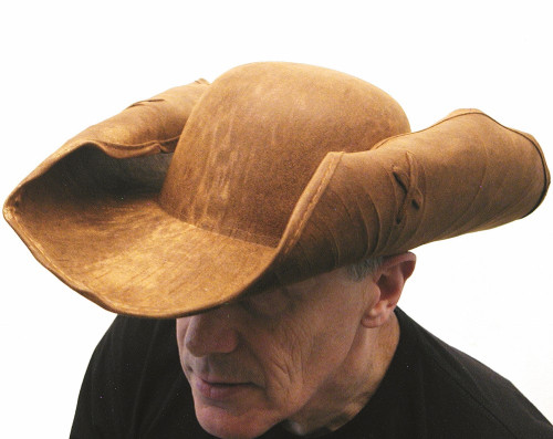 Leather-like Pirate Hat with Adjustable Brim