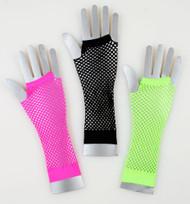 Long Fishnet Gloves - Black