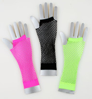 Long Fishnet Gloves - Neon Green