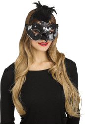 Raven Flip Sequin Mask