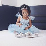 Blue Silver Sequins Princess Gown sz 7-8